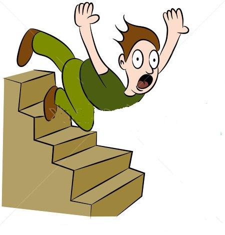 man falling flight stairs
